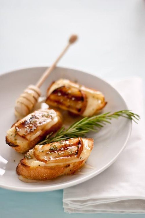Grilled pear brie and honey crostini