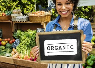 organic food woman blackboard